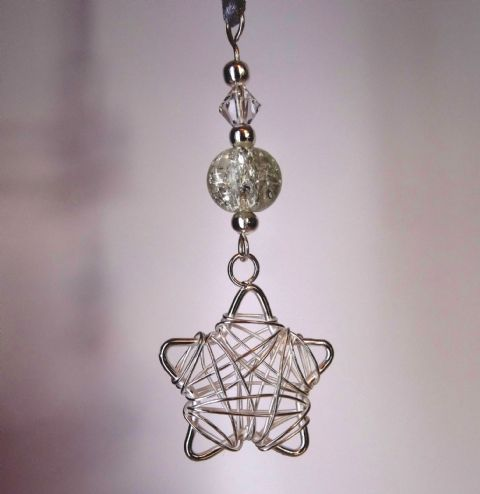 Silver Wire Wrap Star, Clear Crackle Bead & Crystal - Xmas Tree Decoration